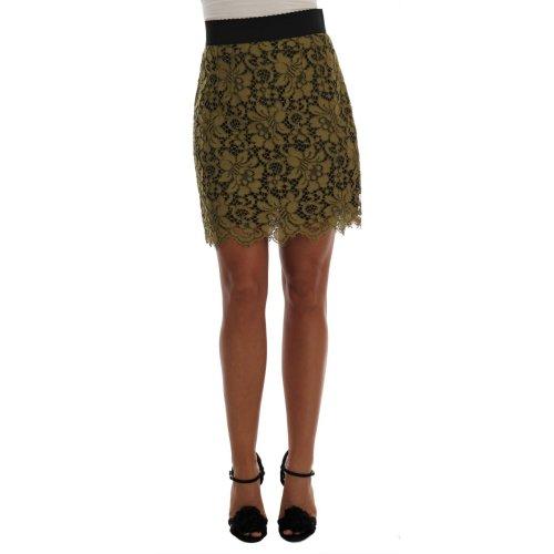 Dolce & Gabbana Green Macramé Lace Skirt