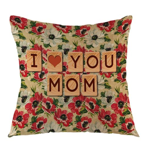 Melyaxu Pillow Cover I Love You Mom Flower Vintage Pillow Case Square Cushion Cover for Sofa Couch Home Bedroom Living Room 18 x 18 Inch