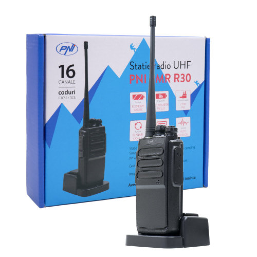 Portable UHF radio station PNI PMR R30 1bc battery 1200 mAh charger and included helmet