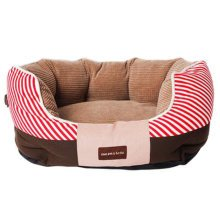 Durable Pet Bed for Cats and Small Medium Dogs Rectangle Cuddler with Soft Detachable Cushion,Red