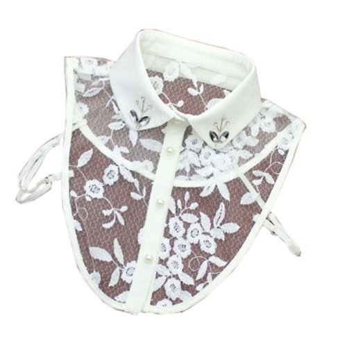Handmade Lace Detachable Collar With Rhinestone Fake Collar Embroidered Collar, B