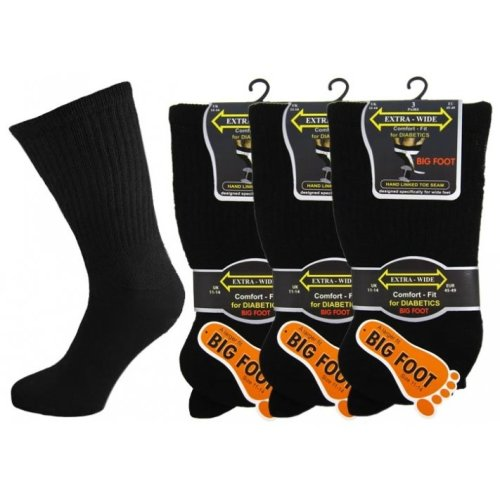 "MEN'S BIG FOOT DIABETIC SOCKS ""EXTRA WIDE"" SIZE 11-13 PACK 6 PAIRS"