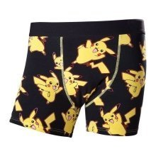 Pokemon Adult Male Dancing Pikachu All-Over Pattern Boxer Short XL Size - Black