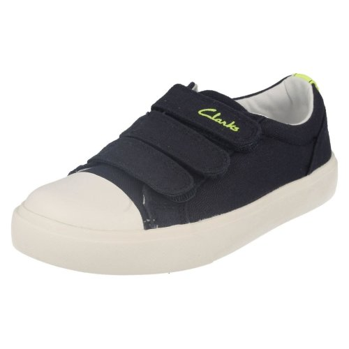 Boys Clarks Machine Washable Casual Pumps Club Halcy - Navy Textile - UK Size 12G - EU Size 30 - US Size 12.5W