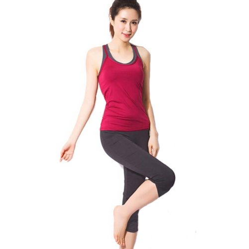 Red Sexy Yoga Apparel Sexy Yoga Pant Gym Clothes Dance Outfit Fitness Suit