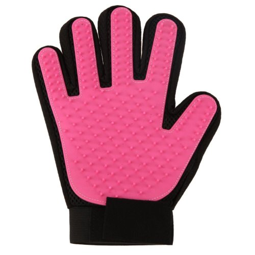 Vinsani [2 X Pink] Pet Grooming Glove Brush Massager, Pet Hair Remover Mitt Deshedding Glove - Perfect for Dogs & Cats with Long & Short Fur