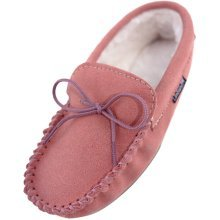 Ladies Suede Moccasin Slippers with PVC Sole
