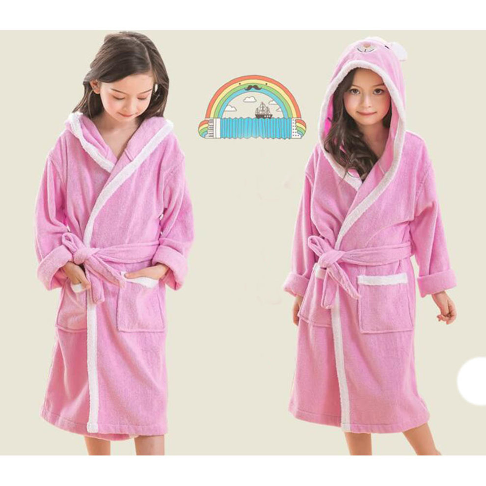 62371b921a ... Children Cotton Bathrobe Soft Swim Bath Gown Robes Pajamas with Hat-A10  - 1.