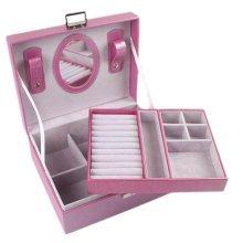 Jewelry Box Necklace Organizer Rings Display Earrings Storage Case-Purple