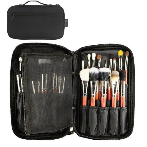 4f38e41e083d GOURDOLL Makeup Brushes Bag Professional Cosmetic Organizer Beauty Artist  Storage Handbag Pouch with Belt Strap (black)
