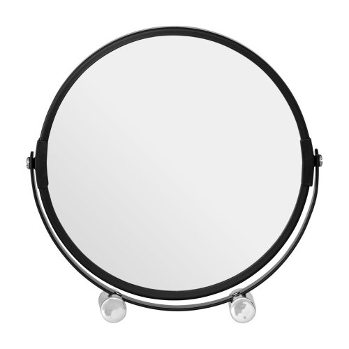 Black Metal Swivel Shaving Mirror With Double Magnification