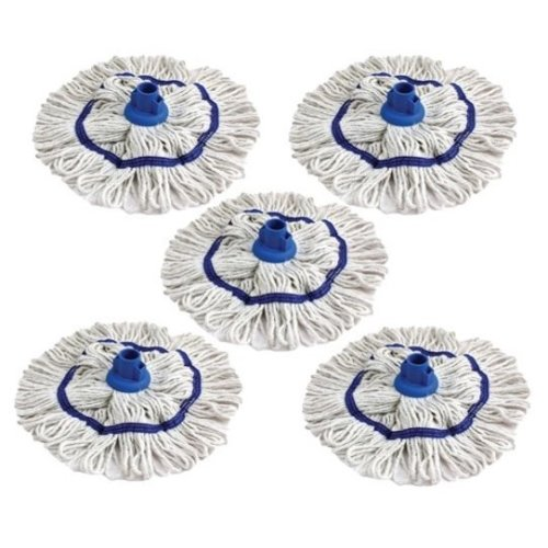 Colour Coded Mop Head Hygienic Cleaning Looped Pure Yarn Cotton Mop Socket 350mm BLUE x 5