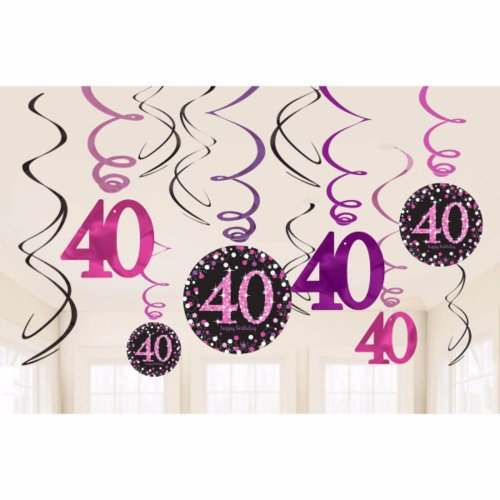 Amscan Sparkling Celebration 40th Birthday Swirl Decorations Pack Of 12 On OnBuy