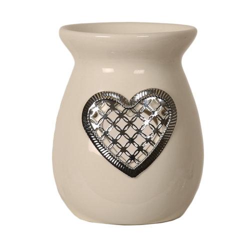 Aroma Silver Heart Melt Burner, 13.5cm