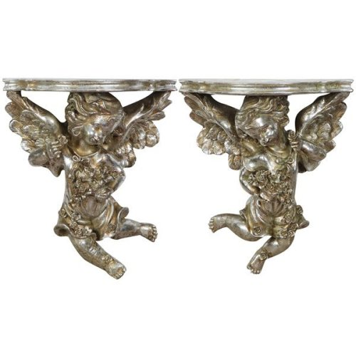 Resin Made Antiqued Silver Finish W27xdp13xh32 Cm Sized Each Shelves Pair