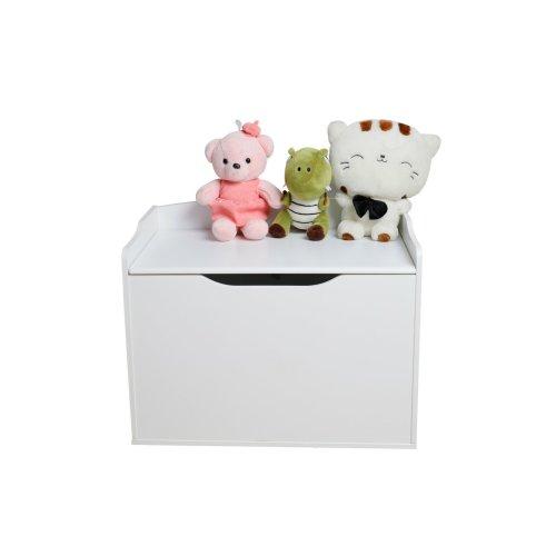 White Wooden Kids Toy Box Storage Chest Ottoman