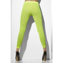 Opaque One Size Footless Tights Neon Green -  footless tights opaque neon green accessory 80s womens