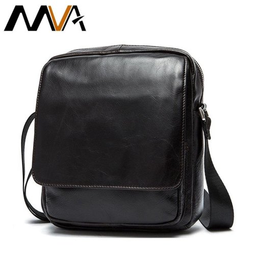 MVA Messenger Bag Men Leather Shoulder Bags Genuine Leather Crossbody Bags for Men Flap Male bolsa Small Shoulder Men Bag 9109