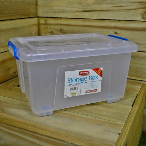 32L Lightweight Stackable Plastic Storage Box with Clip on Lid and Wheels