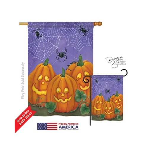 Breeze Decor 12054 Halloween 3 Pumpkins 2-Sided Vertical Impression House Flag - 28 x 40 in.