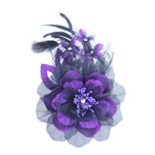 Womens Elegant Pin Brooches Hair Decor Feather And Cloth Flower Brooches, Purple
