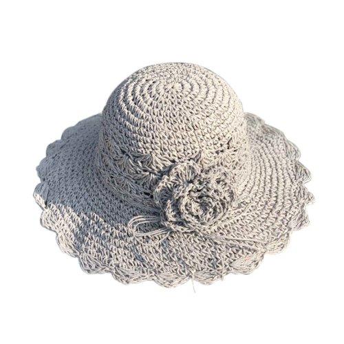 Womens Summer Straw Hat With Flower Packable Sun Visors Girls Hats, Grey