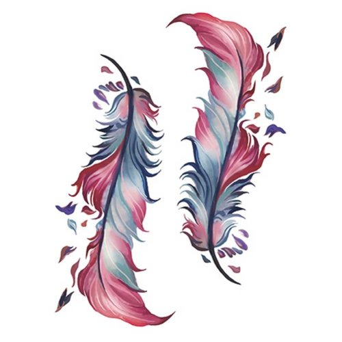 2 Sheets Colorful Feather Abdomen Temporary Tattoos Waterproof Simulation Tattoos Makeup Art Stickers Tattoo Sticker