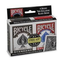 Bicycle Std Index Playing Cards  4-Pack;2 Black & 2 Red