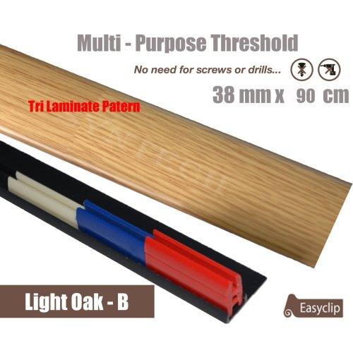 3Ply Light Oak Multi Purpose Threshold Strip 90cm Adhesive Clip System