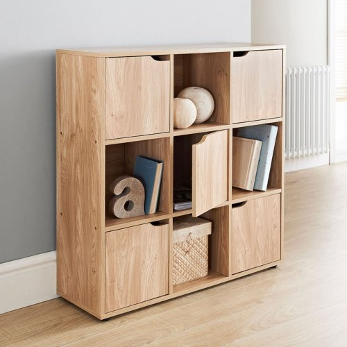 Oak Finish 9 Cube 5 Door Shelf Books Cds & DVDs Wooden Storage Display Unit