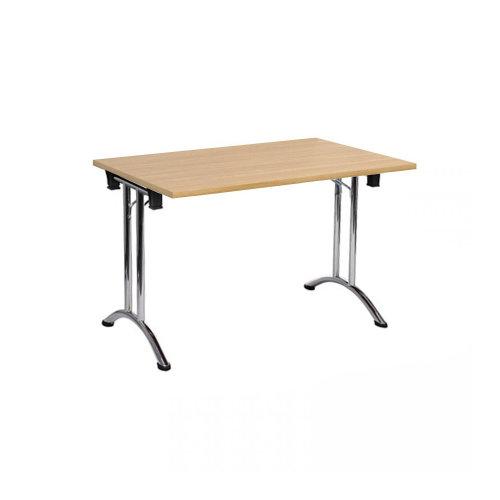 Folding Computer Desk Office Dining Table Workstation Oak Top Chrome Frame 120x80cm