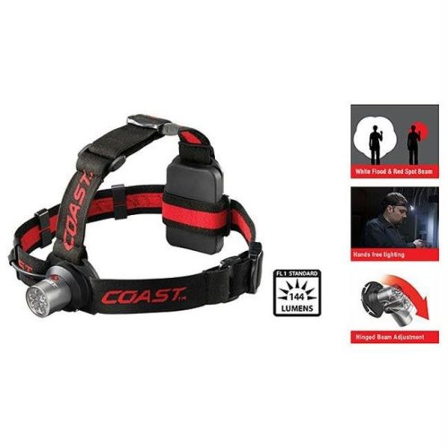 Coast HL4 Dual Color Headlamp, 3 AAA Batteries, 144 Lumens