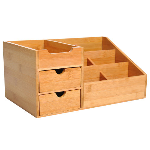 HOMCOM Bamboo Desktop Organiser Holder Multi-Function Storage Caddy Drawers Home Office Stationary Supplies Natural Wood