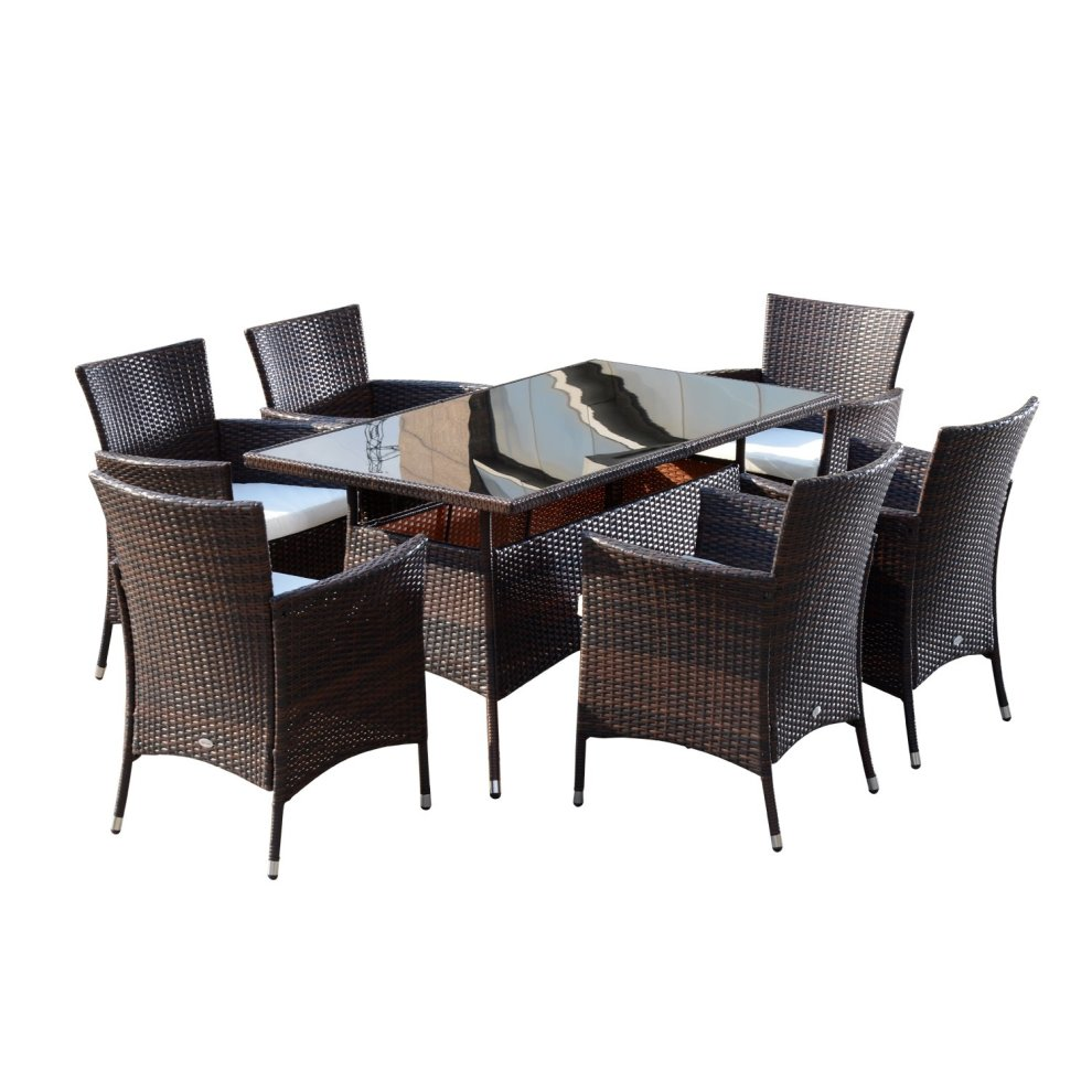 Outsunny Garden Rattan Furniture Cube Dining Table 6