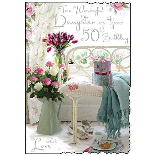 To A Wonderful Daughter on your 50th Birthday Card - Floral Design JJ