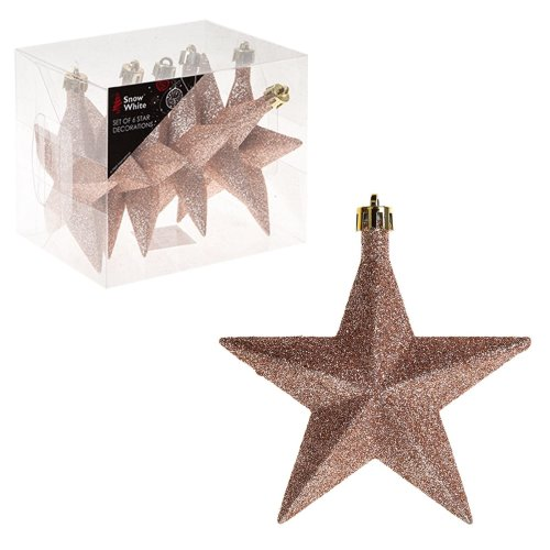 Snow White Shatterproof Christmas Tree Decoration 6 Glitter Stars 100mm Rose Gold