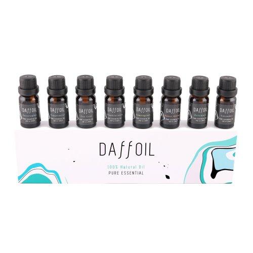 Essential oils set (8 x 10ml) aromatherapy, humidifier, therapeutic, 100% pure oils (lavender, tea tree, lemongrass, mint, eucalyptus, incense,...