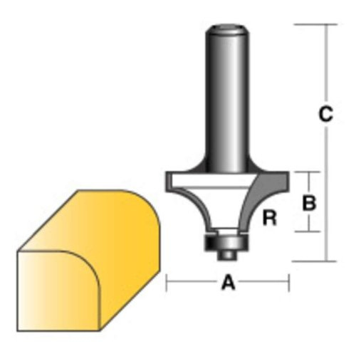 """CARBITOOL ROUND OVER ROUTER BIT 5/16"""" W/BEARING 1/4"""" SHANK"""