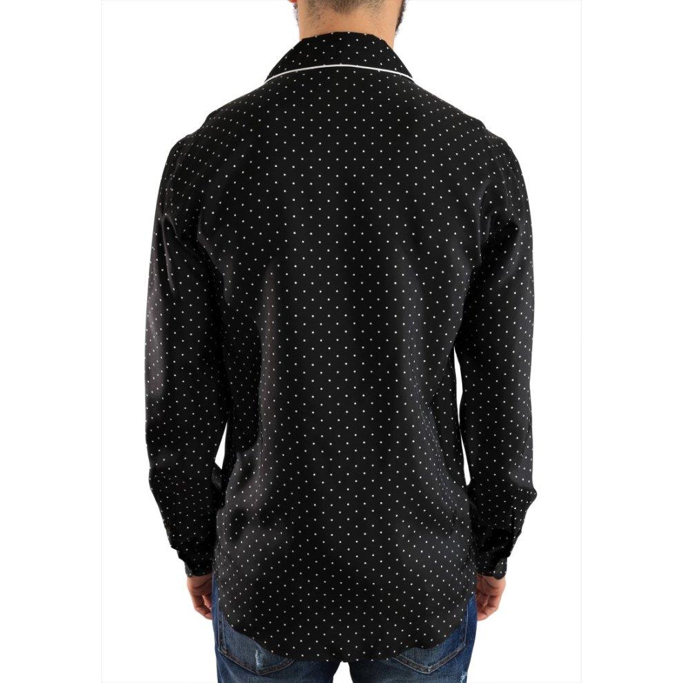 1cae0ef789876 Dolce   Gabbana Black White Polka Dot Silk Shirt on OnBuy