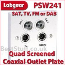Labgear PSW241 Quad Screened Coaxial Outlet Plate for SAT, Freeview  HD TV, DAB