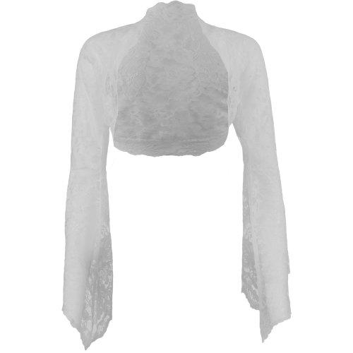 Grace & Flair - Ladies White Lace Bell Sleeve Bolero Size 6-30