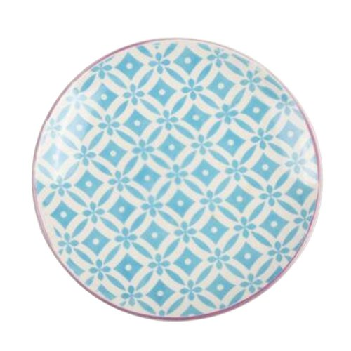 Set of 2 Ceramic Dinner Plates Beautiful Ceramic Dishes Steak Plate, Floral Blue