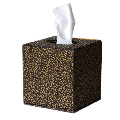 Square Cute Tissue Box Holder With Gold Carved Patterns (Black)