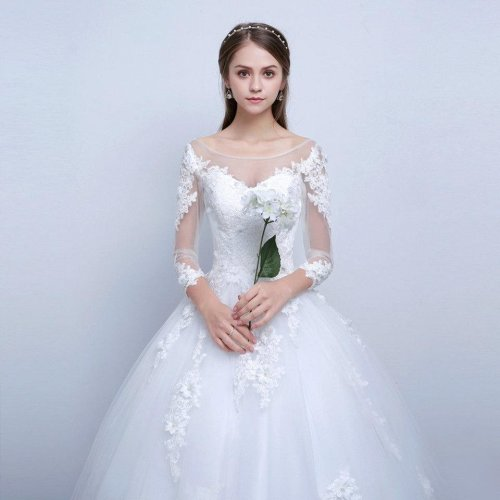 Princess Elegant Wedding Dresses With Long Lace Sleeve High Quality Ball Gown Bridal Gowns Vestidos De Noiva