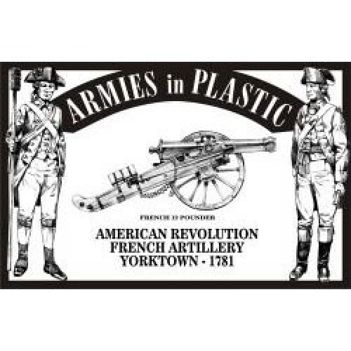 American Revolution Yorktown 1781 French Artillery Crew (5) w/Cannon 1/32 Armies in Plastic