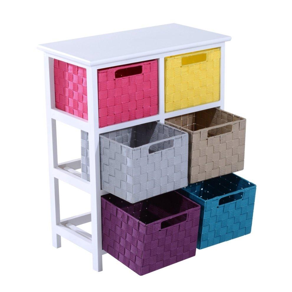 homcom 3 tier 6 multicoloured drawers storage cabinet chest of drawer bathroom organiser on onbuy. Black Bedroom Furniture Sets. Home Design Ideas