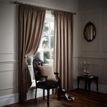 """Chenille mink brown pencil pleat tape top 66"""" x 90"""" lined curtains"""
