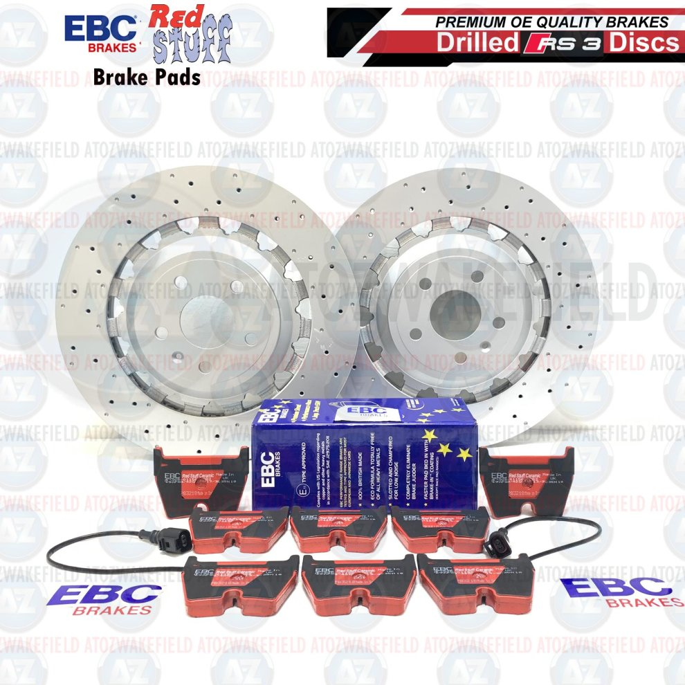FOR AUDI RS3 8V FRONT BRAKE DISCS EBC RED STUFF PERFORMANCE BRAKE PADS 370mm