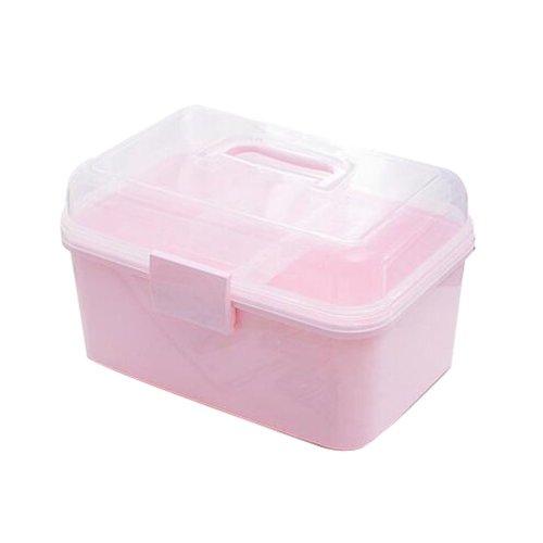 Portable Handheld Family Medicine Cabinet First Aid Kit Storage Box Light Pink