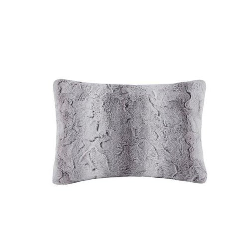Madison Park MP30-4835 14 x 20 in. Zuri Faux Fur Oblong Pillow - Grey